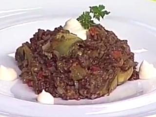 Receta de arroz con alcachofas y sobrasada