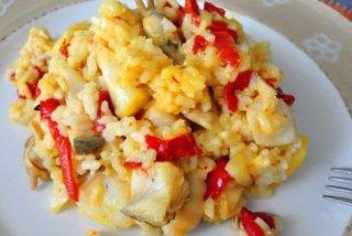 Receta de arroz con bacalao y pimientos