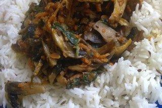 Receta de arroz con espinacas y champiñones