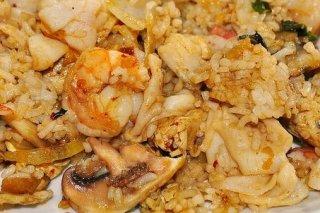 Receta de arroz con gambas y champiñones