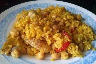 Receta de arroz con pollo y garbanzos
