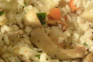 Receta de arroz con setas y albahaca