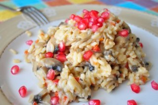 Receta de arroz cremoso con champiñones y granada