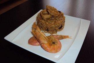 Receta de arroz integral con sepias y gambones