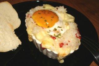Receta de barcas de arroz, huevo, chorizo y queso