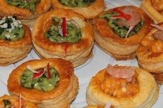 Receta de volovanes de cangrejo, gambas, espinacas y queso