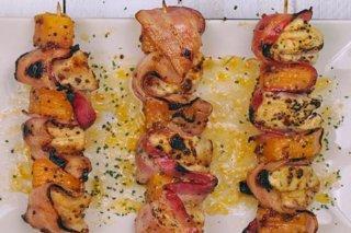 Receta de brochetas de pollo, bacon y calabaza