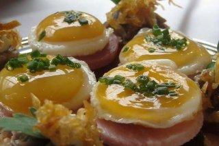 Receta de canapés de huevo frito