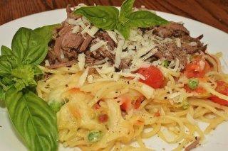 Receta de carne de ternera con pasta