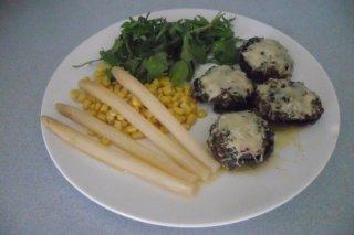 Receta de champiñones rellenos de carne y verduras al foie