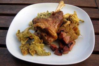 Receta de cordero lechal al horno con membrillo, alcachofas y bulgur