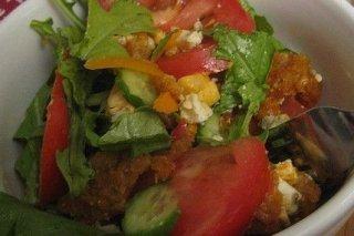 Receta de ensalada con pollo empanado