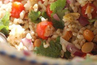 Receta de ensalada de arroz con almendras