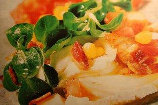 Receta de ensalada de canónigos y quesos con pechuga de pavo