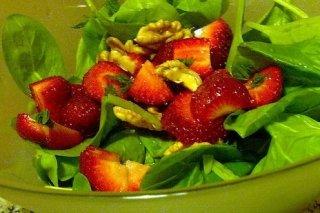 Receta de ensalada de espinacas con fresas