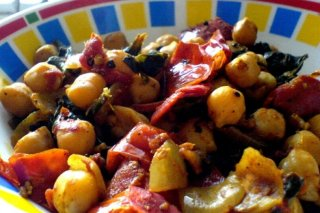 Receta de ensalada de garbanzos con espinacas