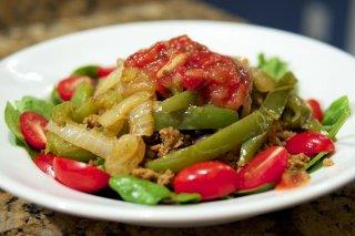 Receta de ensalada de judías verdes con pesto rojo