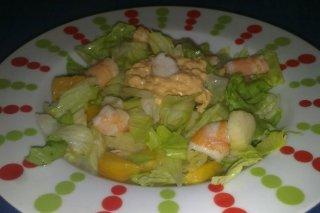 Receta de ensalada de langostinos y fruta