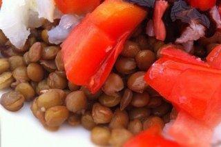 Receta de ensalada de lentejas con bacalao