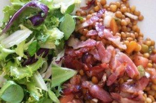 Receta de ensalada de lentejas con jamón