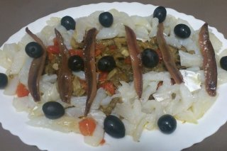 Receta de ensalada semifría de bacalao