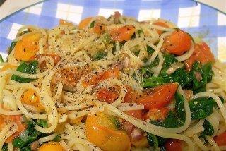 Receta de espaguetis con bacon y espinacas