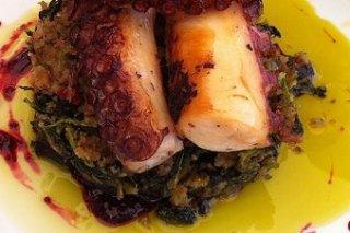 Receta de espinacas con pulpo