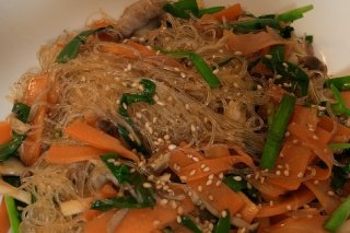 Receta de fideos de arroz con verduras
