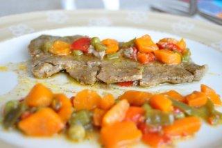 Receta de filetes de ternera con verduras