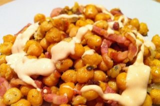 Receta de garbanzos fritos con beicon