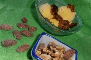 Receta de helado con nueces fritas