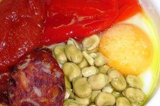 Receta de huevos al plato con chorizo