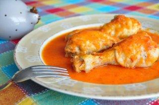 Receta de jamoncitos de pollo con salsa de pimientos