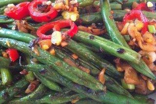 Receta de judías verdes salteadas con pimientos