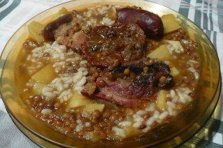 Receta de lentejas con arroz y patata