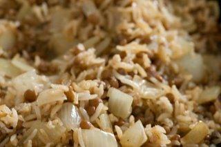 Receta de lentejas salteadas con arroz