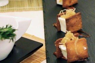 Receta de panaccota de queso crema con tasajo y pimentón de la vera