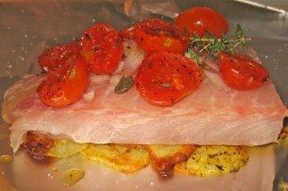 Receta de papillote de salmón y tomate cherry