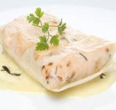 Receta de paquetes de salmón con salsa de mostaza