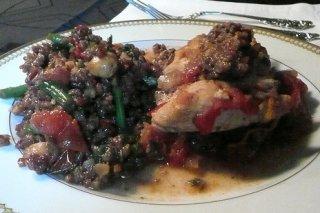 Receta de pechuga de pollo con ensalada de lentejas
