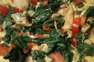 Receta de pollo al curry con acelgas