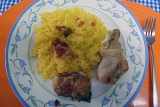 Receta de pollo con arroz al curry