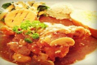 Receta de pollo con champiñones y tomate