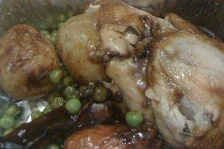Receta de pollo con guisantes