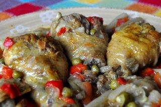 Receta de pollo con menestra de verduras