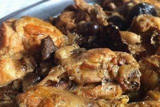 Receta de pollo con setas al vino