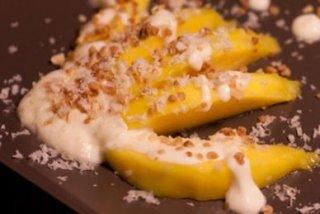 Receta de postre de mango y chocolate blanco