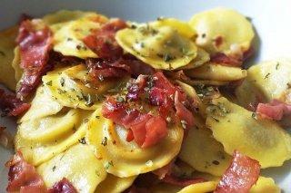 Receta de raviolis con setas y jamón