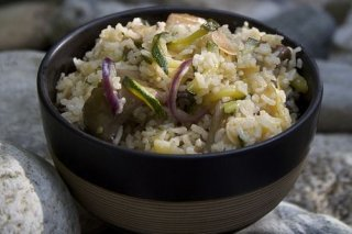 Receta de risotto con setas y calabacín