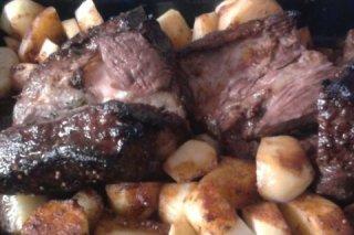 Receta de roast beef agridulce con papas al horno